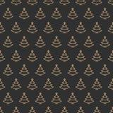 Gouden de rassenbarrièrestijl van het kerstboom naadloze patroon op zwarte achtergrond Stock Fotografie