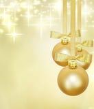 Gouden de snuisterijendecoratie van Kerstmis Stock Foto