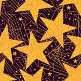Gouden de ster schittert groot naadloos patroon stock illustratie