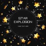 Gouden de verduisteringsmalplaatje van de ster licht explosie Stock Foto