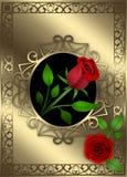 Gouden decoratieachtergrond met rode rozen en bladeren stock illustratie