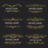 Gouden decoratief frame De uitstekende Vector van embleemmalplaatjes Royalty-vrije Stock Foto