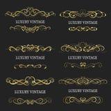 Gouden decoratief frame De uitstekende Vector van embleemmalplaatjes Stock Fotografie