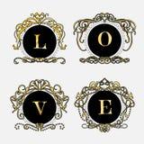 Gouden decoratief frame De uitstekende Vector van embleemmalplaatjes Royalty-vrije Stock Fotografie
