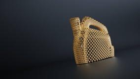 Gouden deeltjesgallon, de jerrycan van de motorolie stock foto's