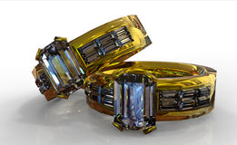 Gouden diamanten bruiloftring Royalty-vrije Stock Foto