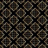 Gouden Diamond Checkered-patroon op zwarte Stock Afbeeldingen