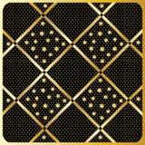 Gouden Diamond Checkered-patroonvector Royalty-vrije Stock Afbeeldingen