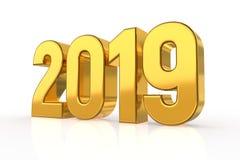 2019 gouden die Aantallen op witte achtergrond worden geïsoleerd Gelukkig Nieuwjaar 2019 3D Illustratie royalty-vrije illustratie