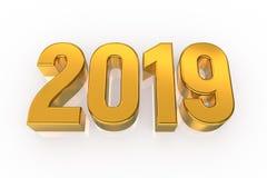 2019 gouden die Aantallen op witte achtergrond worden geïsoleerd Gelukkig Nieuwjaar 2019 3D Illustratie vector illustratie