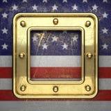 Gouden die achtergrond aan de vlag van de V.S. wordt geschilderd Royalty-vrije Stock Afbeeldingen