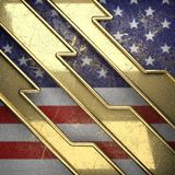 Gouden die achtergrond aan de vlag van de V.S. wordt geschilderd Stock Foto