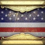 Gouden die achtergrond aan de vlag van de V.S. wordt geschilderd Royalty-vrije Stock Fotografie