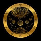 Gouden die astrologieconcept met planeten op zwarte achtergrond wordt geïsoleerd stock illustratie