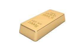 Gouden die bar op witte achtergrond wordt geïsoleerd Royalty-vrije Stock Afbeelding