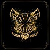 Gouden die beer, varkenshoofd op zwarte achtergrond wordt geïsoleerd Symbool van Chinees 2019 Nieuwjaar royalty-vrije illustratie