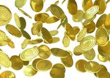Gouden die Bitcoin-muntstukken op wit worden geïsoleerd Stock Fotografie