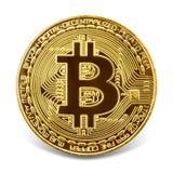 Gouden die bitcoin op de witte achtergrond wordt geïsoleerd Stock Afbeelding