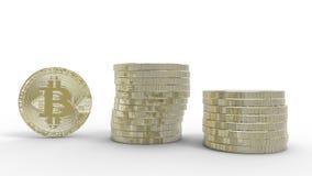 Gouden die Bitcoins op witte achtergrond wordt geïsoleerd 3D Illustratie Stock Afbeeldingen