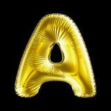 Gouden die brief A van opblaasbare die ballon wordt gemaakt op zwarte achtergrond wordt geïsoleerd Royalty-vrije Stock Foto's
