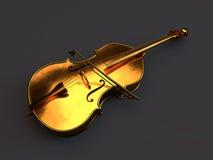 Gouden die cello op wit wordt geïsoleerd Royalty-vrije Stock Foto
