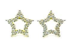 Gouden die de oorringsjuwelen van de tegenhangerkamee in stervorm op whi wordt geïsoleerd Royalty-vrije Stock Afbeelding