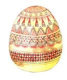 Gouden die ei met bruine en rode viltpen wordt verfraaid stock illustratie