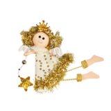Gouden die engel op witte achtergrond wordt geïsoleerd Royalty-vrije Stock Fotografie