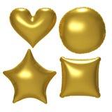 Gouden die folieballon met het knippen van weg wordt geplaatst Stock Afbeelding