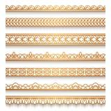 Gouden die grens op wit wordt geplaatst Royalty-vrije Stock Afbeelding