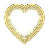 Gouden die hartomlijsting op wit wordt geïsoleerd royalty-vrije illustratie