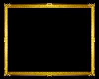 gouden die kader op zwarte achtergrond, het knippen weg wordt geïsoleerd Stock Foto's