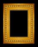 gouden die kader op zwarte achtergrond, het knippen weg wordt geïsoleerd Royalty-vrije Stock Afbeeldingen