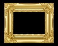 Gouden die kader op zwarte achtergrond wordt geïsoleerd Royalty-vrije Stock Fotografie