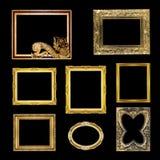 Gouden die kader op zwarte achtergrond wordt geïsoleerd Stock Afbeeldingen