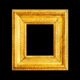 Gouden die kader op zwarte wordt geïsoleerd Stock Afbeelding