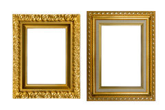 Gouden die kaders op witte achtergrond worden geïsoleerd Royalty-vrije Stock Afbeeldingen