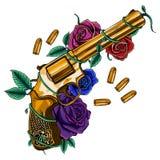 Gouden die kanon door kleurrijke rozen en kogels wordt omringd stock illustratie