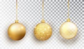 Gouden die Kerstboomstuk speelgoed reeks op een transparante achtergrond wordt geïsoleerd De decoratie van kouskerstmis Vectorvoo vector illustratie