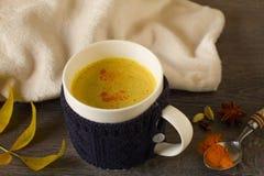 Gouden die Melk, met kurkuma en andere kruiden wordt gemaakt stock afbeelding