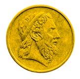 Gouden die muntstuk op witte achtergrond wordt geïsoleerd Stock Afbeelding