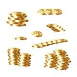 Gouden die muntstuk op witte vectorillustratie wordt geplaatst als achtergrond Royalty-vrije Stock Fotografie