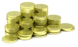 Gouden die muntstukkenstapel op diagonaal wit wordt geïsoleerd, Stock Foto