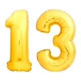 Gouden die nummer 13 van opblaasbare ballon wordt gemaakt Stock Foto