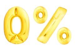 Gouden die nummer 0 van opblaasbare die ballon wordt gemaakt op witte achtergrond wordt geïsoleerd Stock Afbeelding