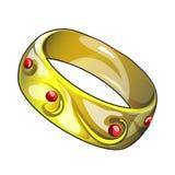 Gouden die ring op witte achtergrond wordt geïsoleerd De vectorillustratie van het beeldverhaalclose-up Royalty-vrije Stock Foto