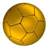 Gouden die voetbalbal, op witte achtergrond wordt geïsoleerd Royalty-vrije Stock Afbeeldingen