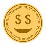 Gouden digitaal het muntstukpictogram van Glad Smile Vectorstijl het gouden gele vlakke symbool van muntstukcryptocurrency Geïsol royalty-vrije illustratie