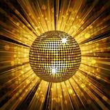 Gouden discobal en mozaïekachtergrond Stock Afbeelding