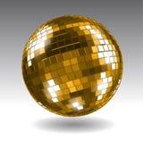 Gouden discobal Het ontwerp van de spiegelbal Stock Afbeelding